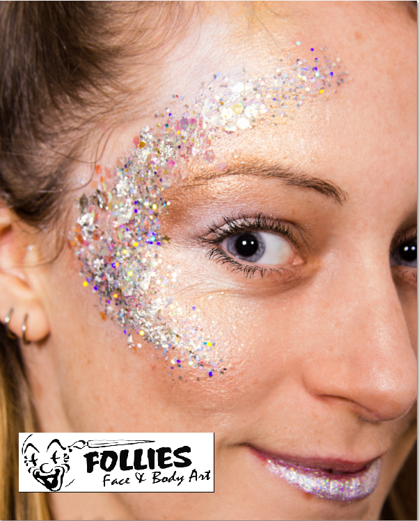 224461f8d2704 Glitter Makeup for events and festivals - Follies Face and Body Painters